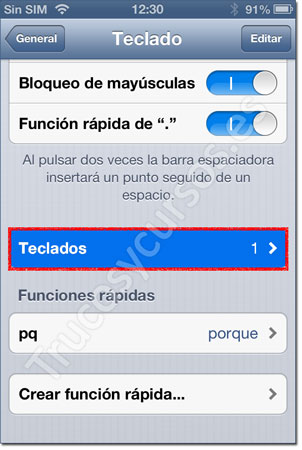 Ventana iPhone: Teclado