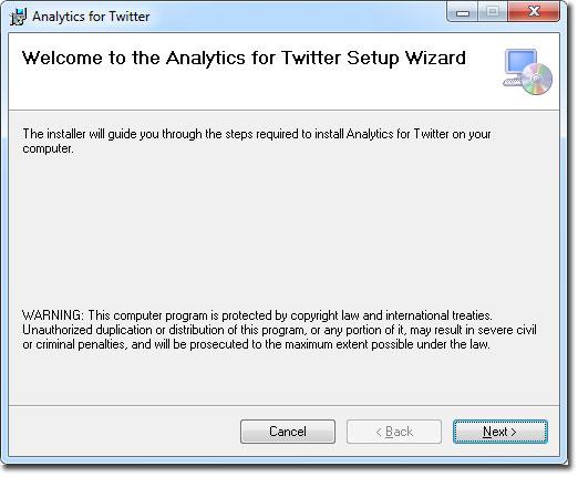 Ventana de bienvenida para Analytics for Twitter en Excel