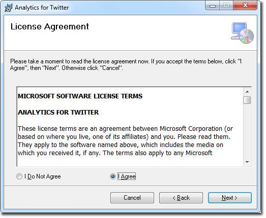 Ventana de licencia para Analytics for Twitter en Excel