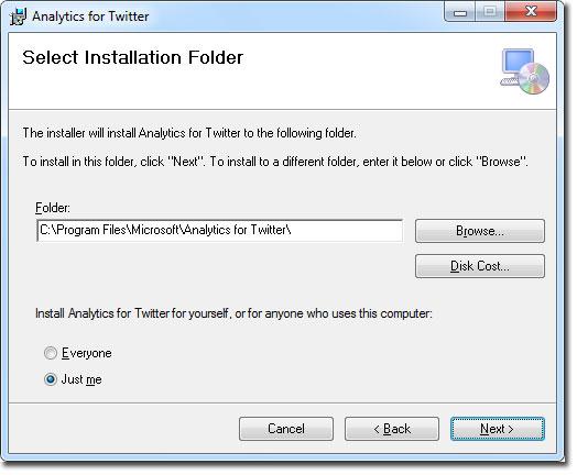 Ventana de carpeta instalación para Analytics for Twitter en Excel