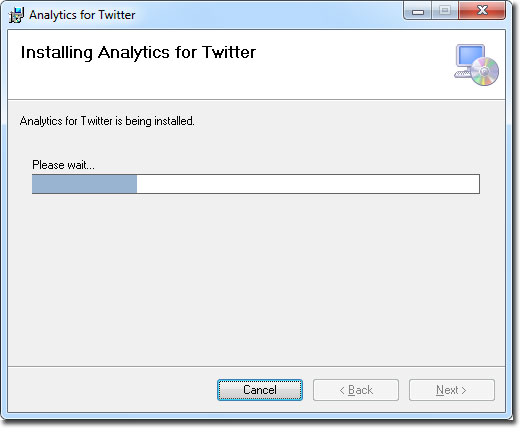 Ventana de instalando para Analytics for Twitter en Excel