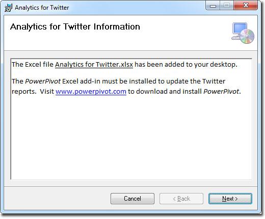 Ventana de confirmación para Analytics for Twitter en Excel