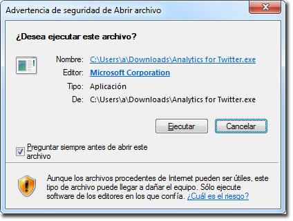 Ventana inicial de instalación Analytics for Twitter