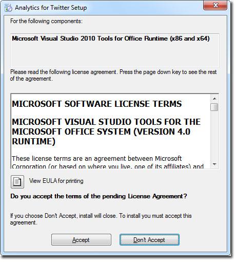Ventana de acuerdo de licencia de Visual Studio para Analytics for Twitter en Excel