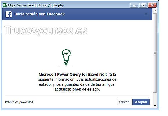 Cuadro de diálogo de política de privacidad de Facebook.