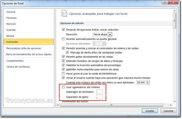 El separador decimal en Excel - Ventana de opciones avanzadas de Excel