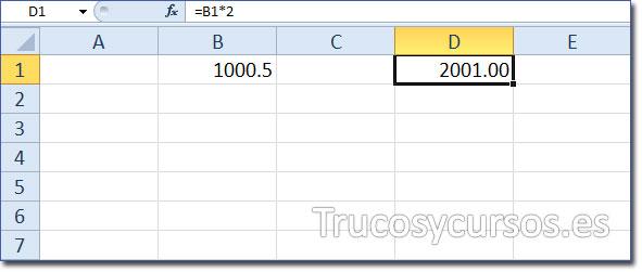 El separador decimal en Excel - Celda B1 con 1000.50 y celda D1 con el resultado de 2001
