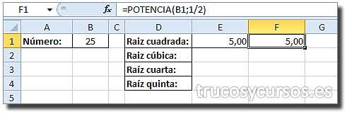 Raíz de un número en Excel: Celda E1 con función =POTENCIA(B1;1/2)