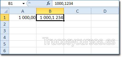 Celda B1 con el formato 1 000,1 234