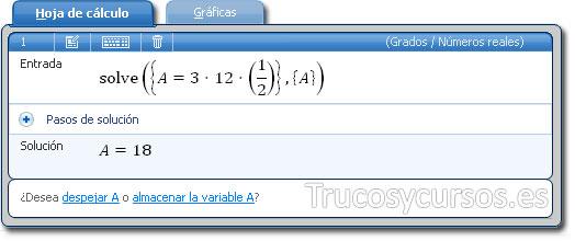Microsoft Mathematics: Pestaña hoja de cálculo con ecuación