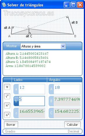 Microsoft Mathematics: Ventana de Solver de triángulos con alturas y áreas
