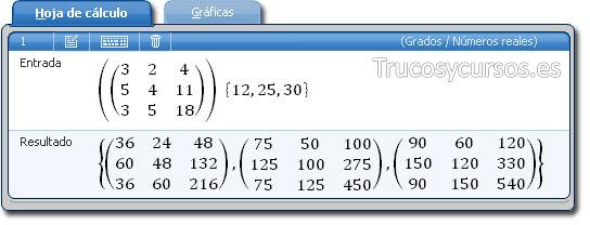 Microsoft Mathematics: Pestaña hoja de cálculo con matriz 3x3