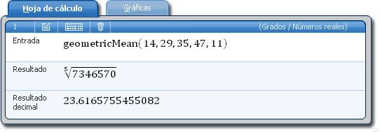 Microsoft Mathematics: Pestaña hoja de cálculo con función estadística media geométrica