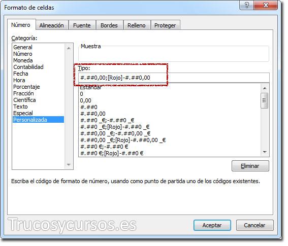 Ventana formato de celda con formato personalizado número negativo: #.##0,00;[Rojo]-#.##0,00