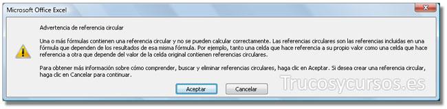 Mensaje de advertencia de la referencia circular en Excel