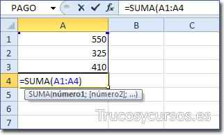 Celda A4 con función =SUMA(A1:A4), A4 para resultado y como valor de rango