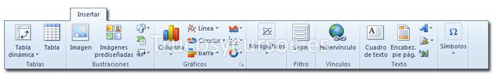 La ficha insertar de la cinta de opciones Excel 2010
