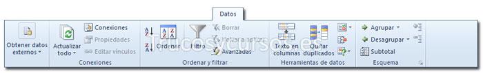 La ficha datos de la cinta de opciones Excel 2010