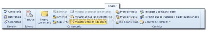 La ficha revisar de la cinta de opciones Excel 2010