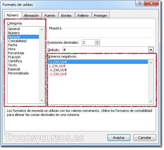 Ventana formato de celda, pestaña número, cuadros de lista: categoría y números negativos