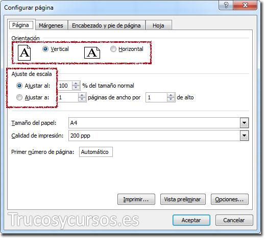 Ventana configurar página, pestaña página, controles de opciones para orientación y ajuste de escala