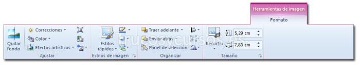 La ficha formato de Herramientas de imagen de la cinta de opciones Excel 2010