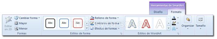La ficha formato de Herramientas de SmartArt de la cinta de opciones Excel 2010