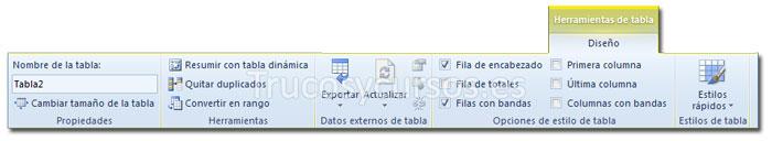 La ficha diseño de Herramientas tabla de la cinta de opciones Excel 2010