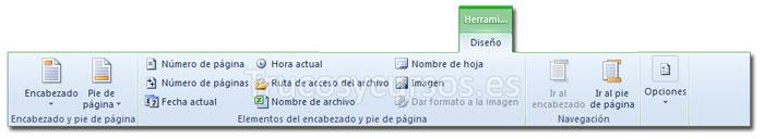 La ficha diseño de Herramientas para encabezado y pie de página de la cinta de opciones Excel 2010