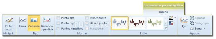 La ficha diseño de Herramientas de minigráficos de la cinta de opciones Excel 2010