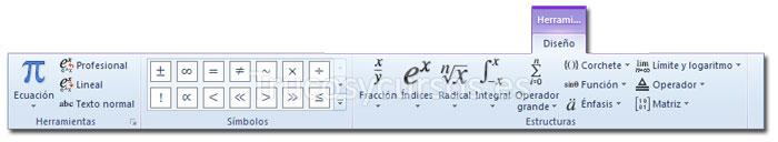 La ficha diseño de Herramientas de ecuación de la cinta de opciones Excel 2010