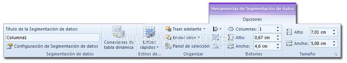La ficha opciones de Herramientas de segmentación de datos de la cinta de opciones Excel 2010