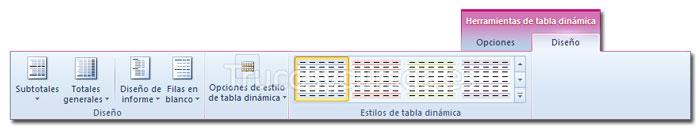 La ficha diseño de Herramientas de tabla dinámica de la cinta de opciones Excel 2010