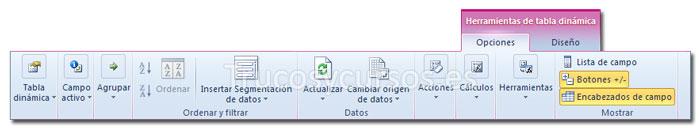La ficha opciones de Herramientas de tabla dinámica de la cinta de opciones Excel 2010