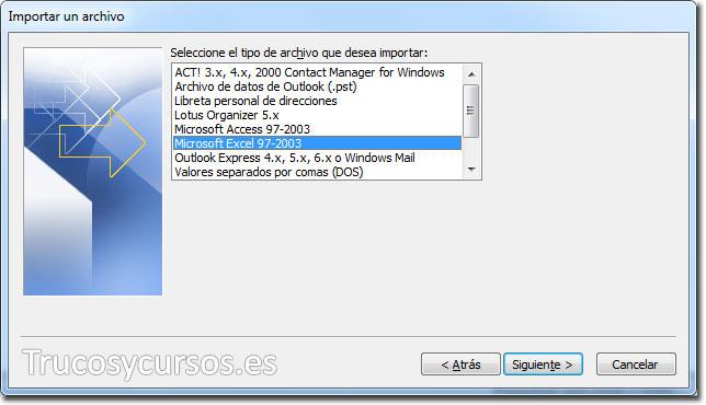 Asistente para importar y exportar Excel: De Microsoft Excel 97-2003