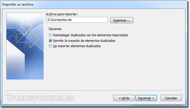 Asistente para importar y exportar Excel: Archivo para importar