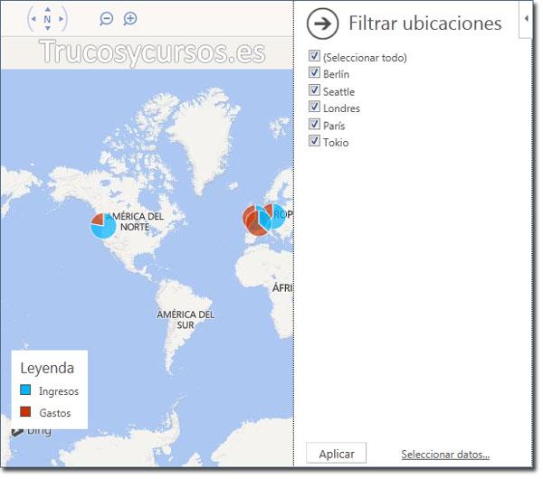 Representar los datos sobre un mapa en Excel: Filtro ubicaciones