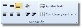 Comandos del Grupo alineación, ficha: Inicio Excel