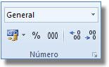 Comandos del Grupo número, ficha: Inicio Excel