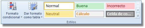 Comandos del Grupo estilos, ficha: Inicio Excel