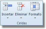 Comandos del Grupo celdas, ficha: Inicio Excel
