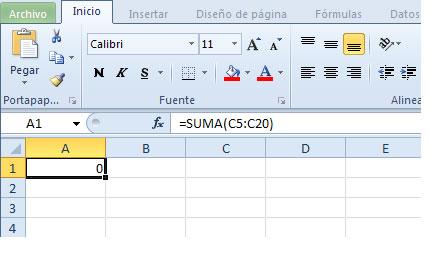 Pestaña o ficha de inicio en Excel