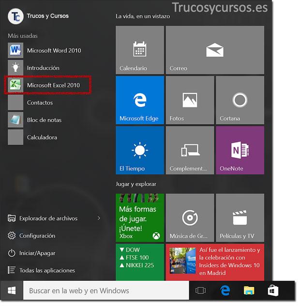 Abrir el programa Excel en Windows 10: Aplicaciones más usuales