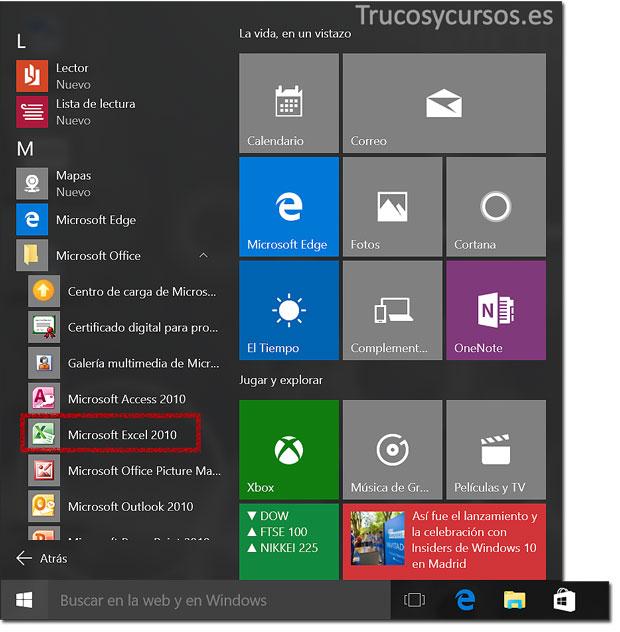 Abrir el programa Excel en Windows 10: Todas las aplicaciones