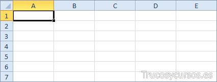 Las áreas seleccionadas en la hoja de Excel: Una Celda (A1)