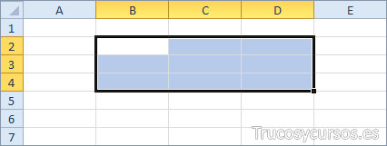 El rango Excel (B2:D4)