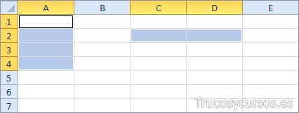 Dos rangos Excel (A1:A4;C2:D2)