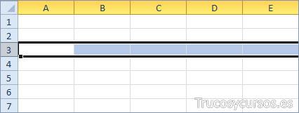 Una fila Excel (A3:XFD3)