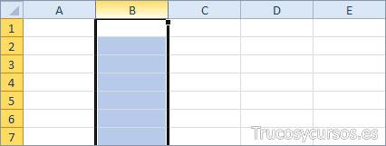 Una columna Excel (B:B)