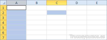 Una columna y una celda Excel (A:A;C2)